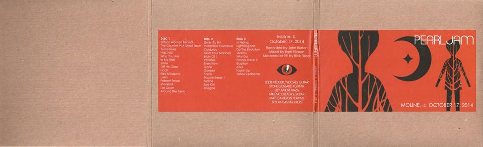 Pearl Jam - 2014 10 17 - Moline, IL - 5'' Triple CD - Cardboard