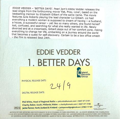 Eddie vedder better days 5 39 39 cd cardboard case uk for Fishs eddy coupon