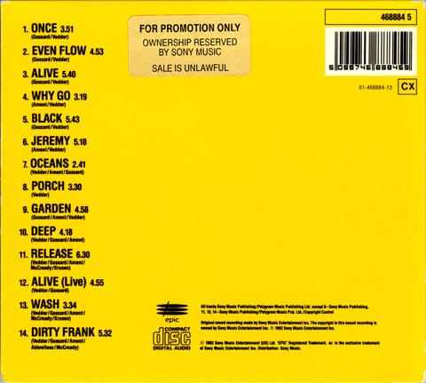 Pearl jam ten 5 39 39 cd digipak uk cd album promo for Fishs eddy coupon