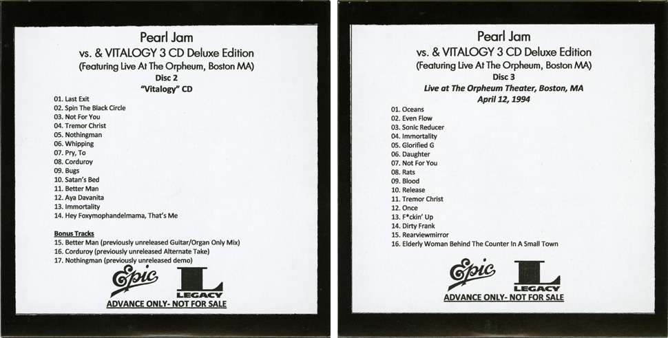 Pjcollectors. Com forum • view topic vs and vitalogy reissues.