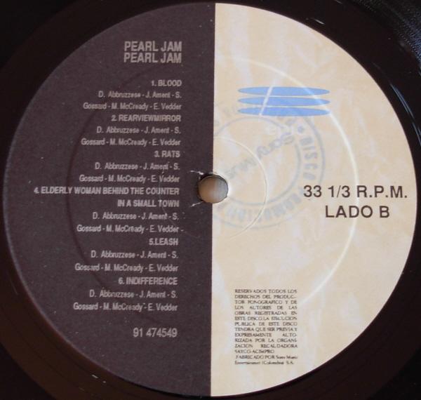 Pearl Jam Vs 12 Black Vinyl Picture Sleeve
