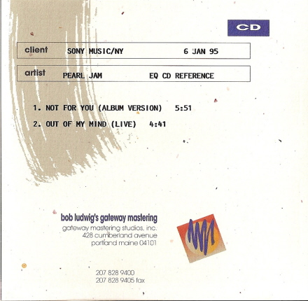 Pearl jam not for you 5 39 39 cd jewelcase usa for Fishs eddy coupon